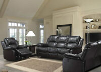 Power recliner 3 piece set. Black or Brown bonded leather. NEW