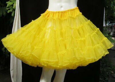 Yellow Halloween Costumes (HALLOWEEN COSTUME Yellow Women's Tiered Mesh Tutu Dance Petticoat Skirt US S M)