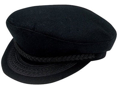 Greek Fisherman Adult Hat Black Braided Costume Sailor Fishing Captain Cap