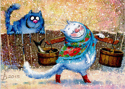 BLUE CAT IS CHASING WHITE CAT ON THE STREET Modern Russian postcard by I.Zenyuk