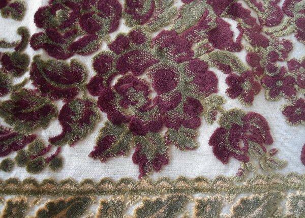 Vintage Red Velvet Chenille Tapestry Table Runner Gold Metallic Lace