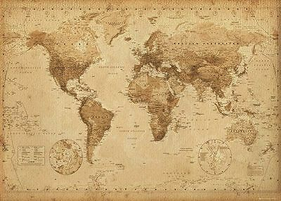 Map Of The World Laminated Poster 40x50cm Antique Wall Chart