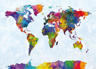 Watercolor Map Of The World (MAP OF THE WORLD - GIANT XXL WATERCOLOR POSTER / PRINT (BY MICHAEL)