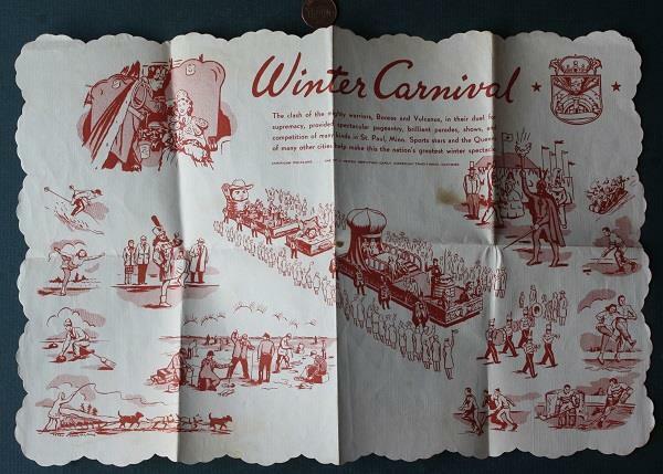 1940-50s Era St. Paul Minnesota Winter Carnival placemat-Parade Floats-Curling!