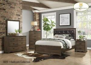 Queen 8 PC Bedroom Set in Rustic Brown (MA707)