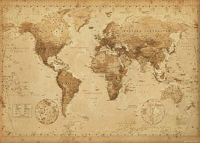 Vintage Antique Laminated World Wall Map Giant Poster