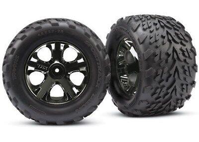 Traxxas 3669A Front All-Star Black Chrome Wheels w/Talon Tires - Stampede VXL