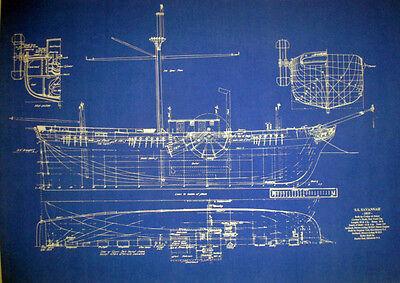 Vintage Sailing Steamship SS Savannah 1819 Blueprint Plan 20x28  (197)
