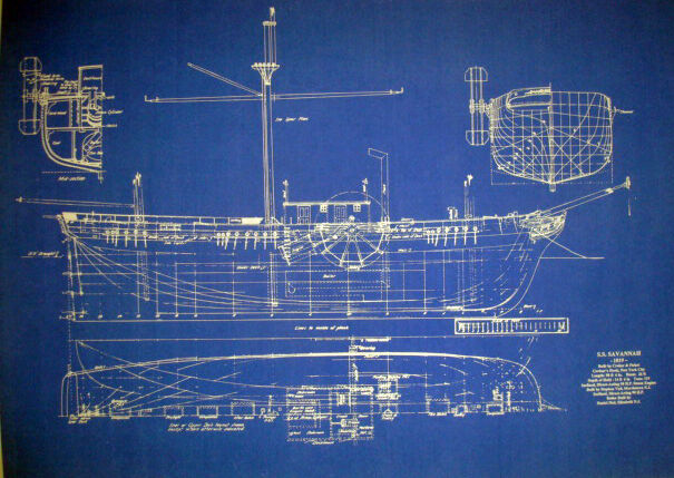 Vintage Sailing Steamship SS Savannah 1819 Blueprint Plan 20x28  (197)