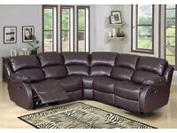 Special Offer 70% off BEST Leather Bonded Recliner Sofa Set Black Brown or Cream colors