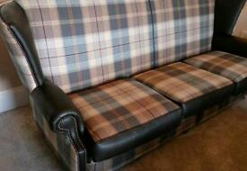 Beautiful high back chesterfield sofa. Tartan and leather