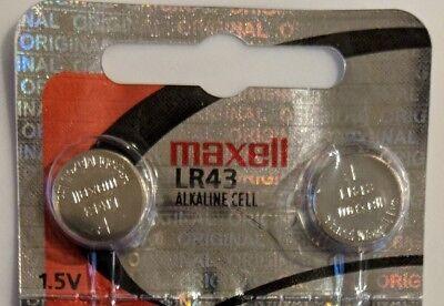 2 Maxell Hologram LR43 386 SR43W AG12 Alkaline Button Cell Batteries 0%Mercury -
