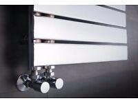 Kristiansund 1380x500mm Flat Chrome Designer Heated Towel Rail