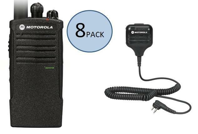 8 Motorola Rdv5100 Two Way Radio Walkie Talkies With Speaker Mics
