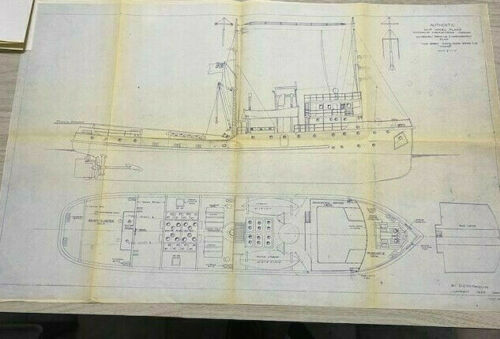 Blueprint Plans Steam Tugboat Ocean Going Twin Screw M.v.TAIKOO