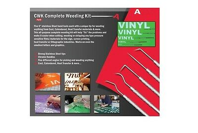 Stainless Steel Weeding Kit 5 Different Angles Pick Vinyl Graphic Sign Film