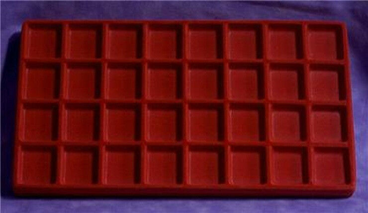 LOT OF 6  FLOCKED 32 COMPARTMENT RED INSERT 14 X 7 1/2