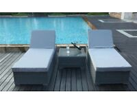 Two brand new Ratten sun loungers