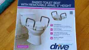"""Raised Toilet Seat with removable arms, 5"""" height"""
