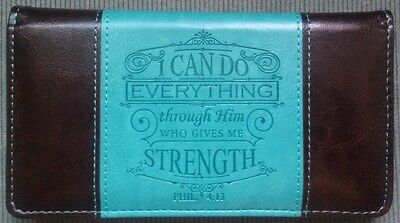 Mens Womens Christian PHIL 4:13 Turquoise Dark Brown LUX LEATHER CHECKBOOK COVER Mens Leather Checkbook Covers