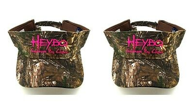 - (2) HEYBO Camo And Pink Sun Visors Hats Caps Camoflauge Southern By Choice New