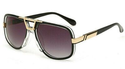 Sonnenbrille Herren Vintage Retro Hiphop Designer Luxus schwarz klar gold 2020
