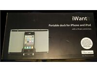 Brand new item iWantit Portable dock for iphone and ipod