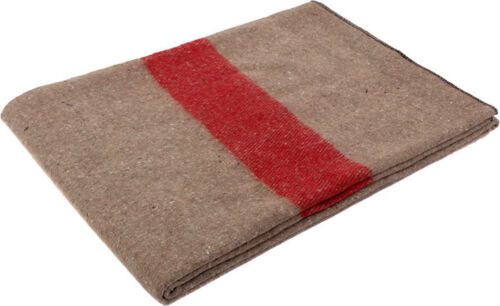 Khaki Swiss European Army Military Red Stripe Type Wool Blanket