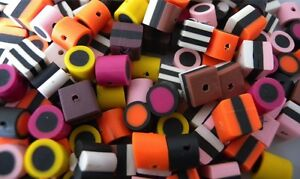 140 MIXED FIMO POLYMER CLAY LIQUORICE ALLSORTS BEADS - **MEDIUM SIZE**
