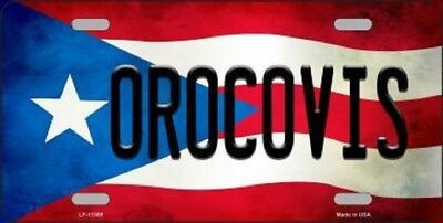 OROCOVIS PUERTO RICO STATE FLAG BACKGROUND NOVELTY METAL LICENSE PLATE TAG