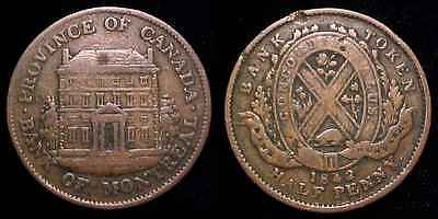 Canada 1842 Bank Of Montreal Halfpenny Token