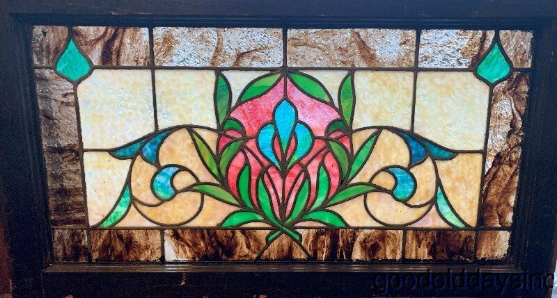 "Antique Colorful Stained Leaded Glass Transom Window Circa 1900 32""x18"""