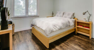 IKEA MALM Birch Queen Bed Frame and Headboard With Storage