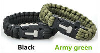 paracord bracelet with survival flint striker and whistle buckle