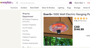 Gazebo Heater by Ener-G+ ... compare on Wayfair for $146 can.