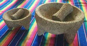 Mortiers 5''en pierre volcanique a/pilon du Mexique (molcajetes)