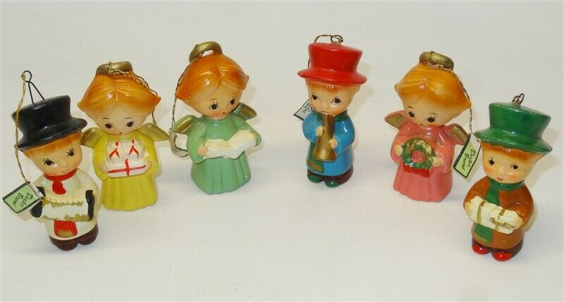 6 Vintage Dexter Ceramic Christmas Ornament Carolers Made For Lee Wards * Japan