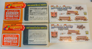 HO Scale Roundhouse Old Timer Log & Work Cars, Kadee Log cars