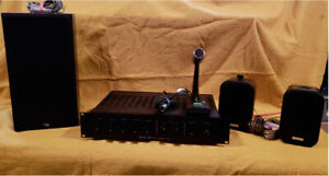 TOA A-506A PA Amplifer w/microphone, 3 speakers. PICKUP ONLY