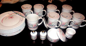 Toscany Collection Japan Coffee Mugs with Lids & Desert Plates