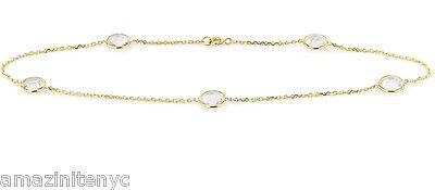 14K Yellow Gold Anklet With White Sapphires 10.5 Inches