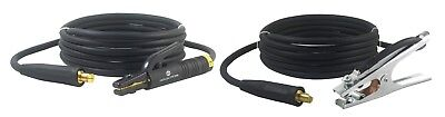 300 Amp Welding Leads Set - Lc40 Connector - 1 Awg Cable 25 Feet Each Lead