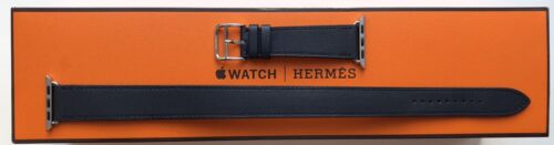 Apple Watch Hermes Strap - 40mm Bleu Indigo Swift Leather Double Tour