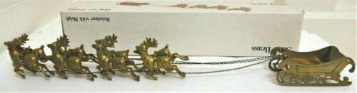 """Vintage Solid Brass Sleigh & Reindeer (8 Deer) 22"""" With Original Box"""