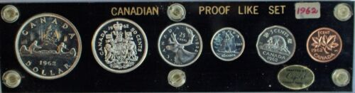 Canada Proof Like Set 1962 6 Coins Capital Coin Holder Silver Unc Royal Mint