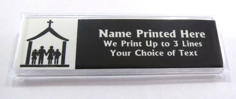 Church Family Custom Name Tag Badge ID Pin Magnet for Pastors Volunteers Staff