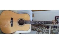 Tanglewood TW15H-E acoustic guitar and gator case.
