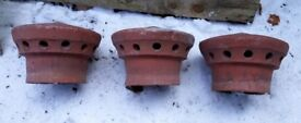 3 terracotta cowls for chimneys or display
