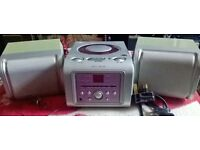 ALBA SILVER AND VIOLET CD/RADIO WITH SPEAKERS LOOKS COOL SOUNDS GREAT WORKS PERFECT IDEAL ANYWHERE