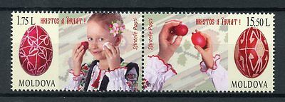 Moldova 2017 MNH Easter 2v Se-tenant Set Easter Eggs Stamps